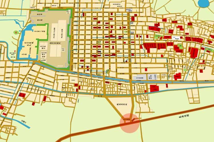 明治20年頃の名古屋駅(笹島)<br>と名古屋市街地図[3/19]