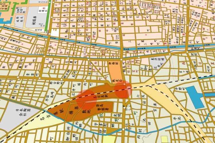 昭和時代(1926-1989)初頭の<br>旧駅(笹島)と新駅[17/19]