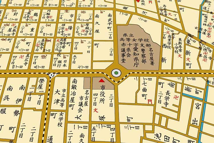 明治時代(1868-1912)末の<br />栄町周辺地図[1/24]